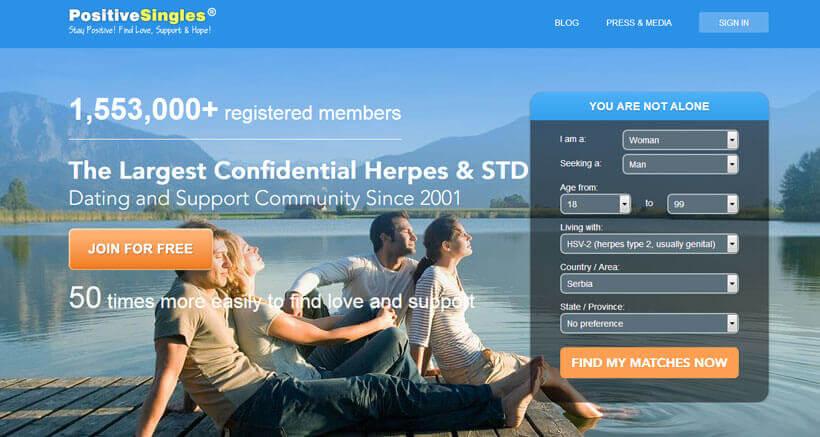 PositiveSingles homepage